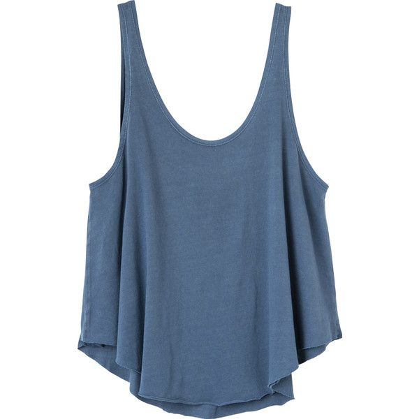 RVCA Women's Label Drape Tank Top ($15) ❤ liked on Polyvore featuring tops, shirts, tank tops, tanks, mosaic blue, blue tank, loose tank, rvca tank tops, draped tank top and loose tops