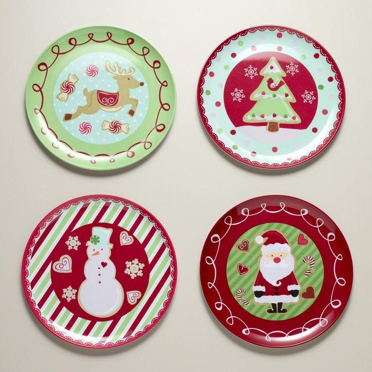 melamine christmas dinnerware sets | Melamine Christmas Sweets Plates Set of 4 | World Market  sc 1 st  Pinterest & 244 best Melamaine/Melmac II images on Pinterest | Dishes Dinner ...