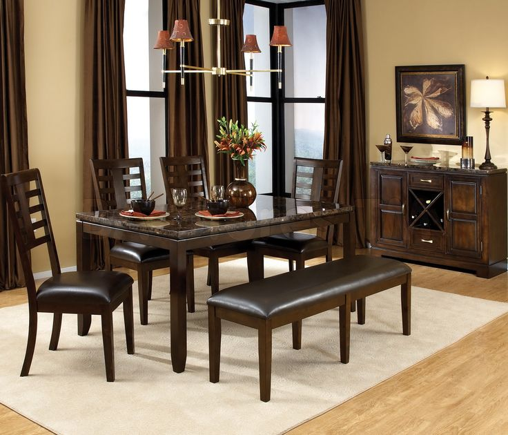 Good Awesome Dining Room Table With Bench , Brown Curtains Of Dining Room  With Table Chair Part 65