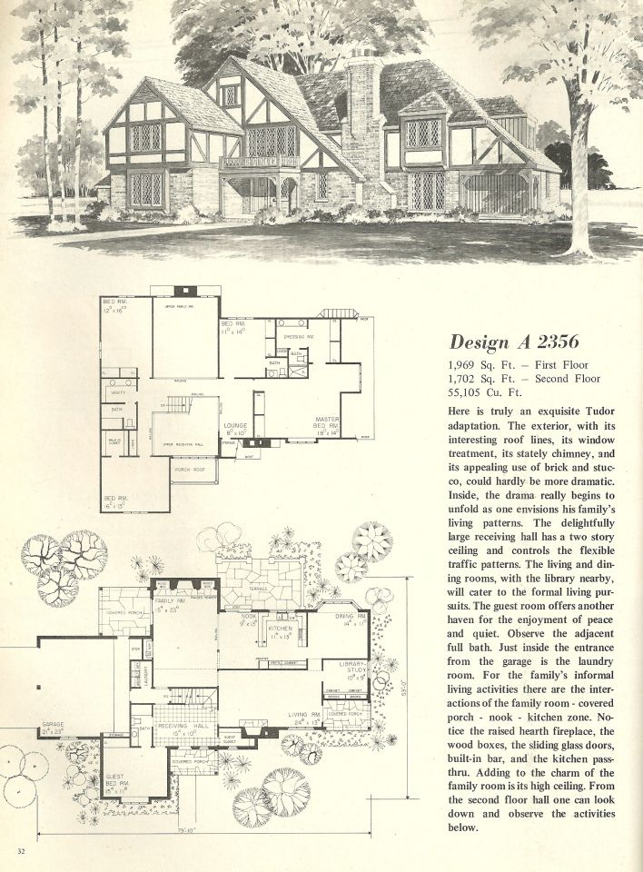 Vintage house plan vintage house plans 1970s homes for Classic tudor house plans