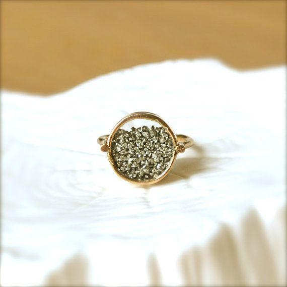 Shake Pyrite Gold Ring by illuminancejewelry on Etsy, $58.00