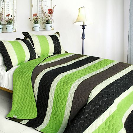 Green Black Brown Striped Teen Boy Bedding Full Queen