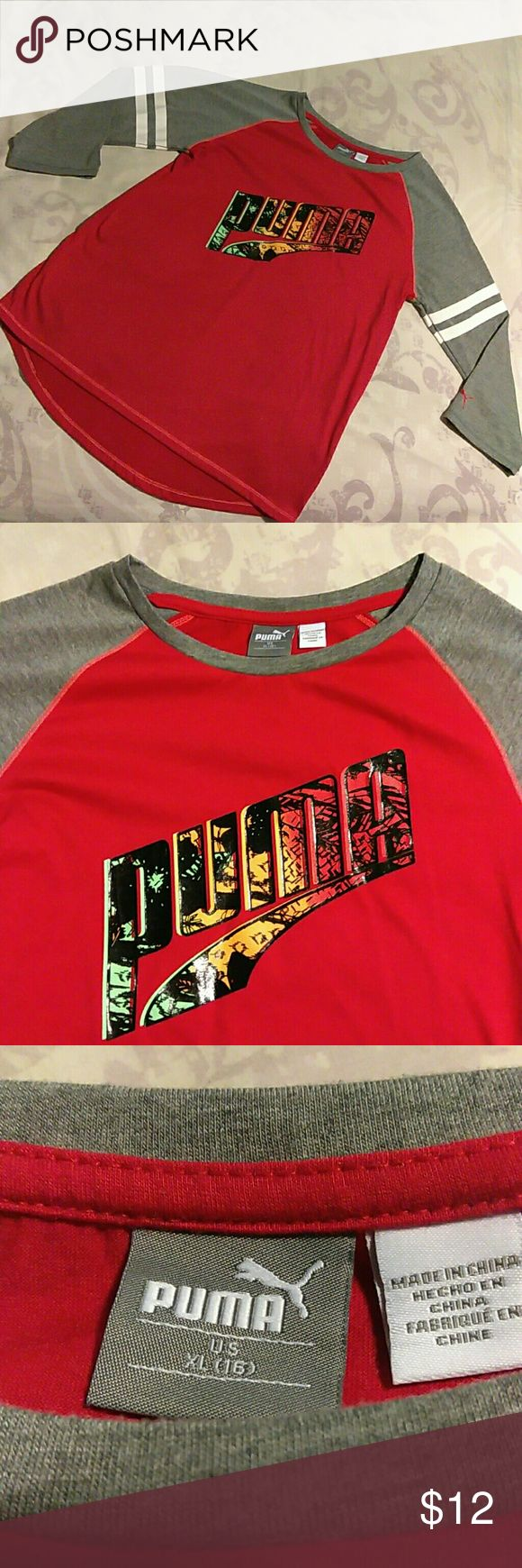 🆕XL Size 16 Puma Shirt🎉 This is a XL Red & Gray Puma shirt Quarter sleeves gray with white stripes 💋 ✨Unique Puma design across chest ✨85% polyester 15% Cotton Exclusive decoration extra Soft and so comfortable Tags removed after purchased, soon after  I found it doesn't fit my teenage Daughter!! Ugh 😔 Puma Shirts & Tops Tees - Short Sleeve