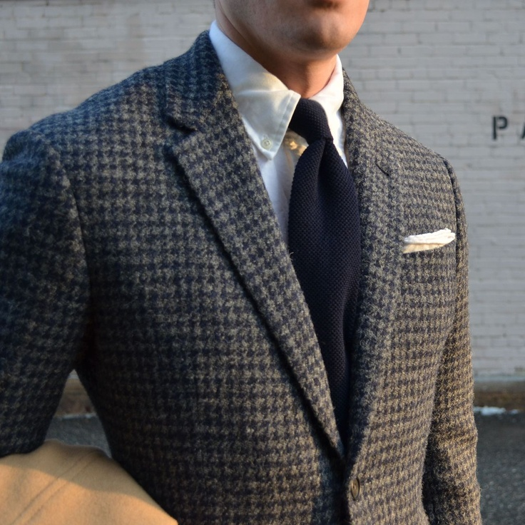 Grey sport coat, white OCBD, navy knit tie, grey pants