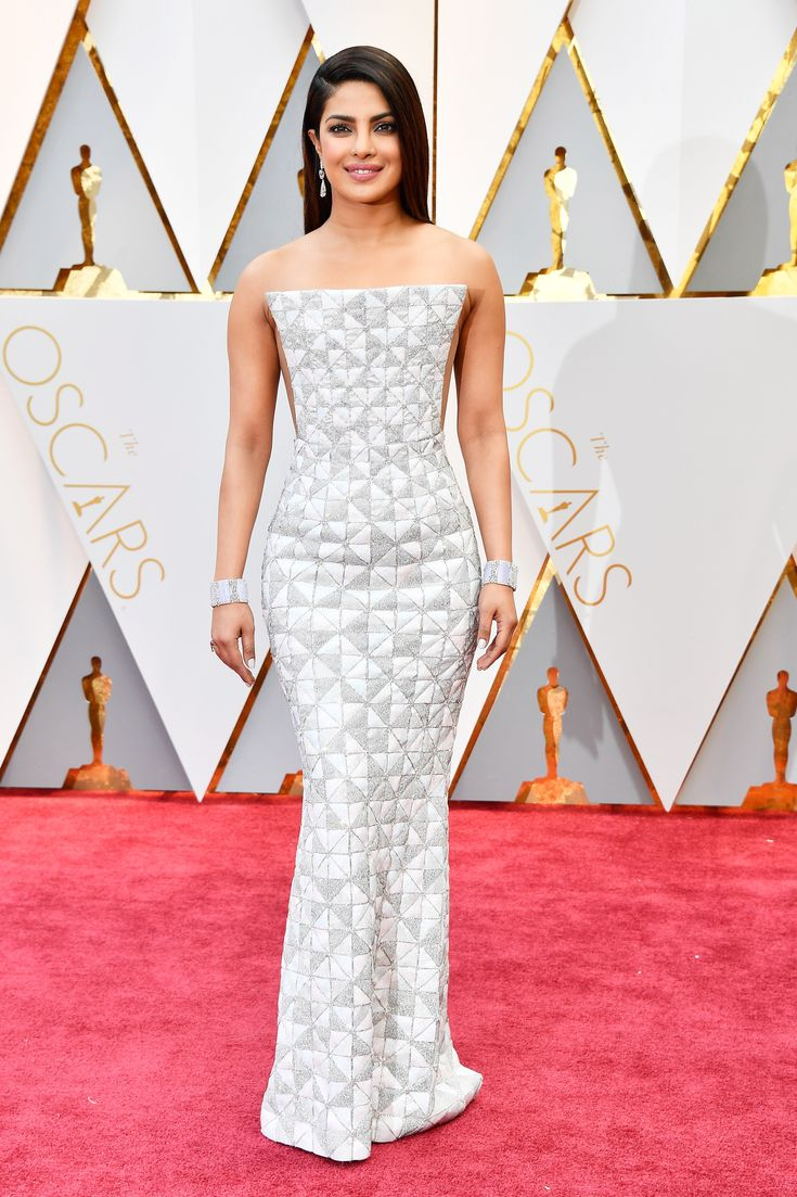 Oscars 2017: All the Fashion Looks From the Red Carpet | Allure Priyanka Chopra turned heads in a geometric metallic gown by Ralph & Russo with Lorraine Schwartz jewelry.