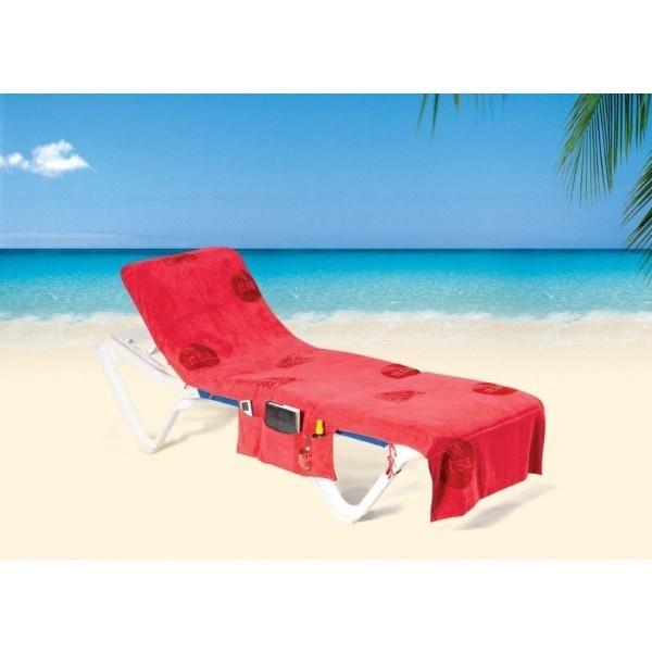 ITSA strandlaken opvouwbaar tot strandtas.  Met opbergvakken en omslag aan hoofdeinde voor bevestiging aan strandstoel.