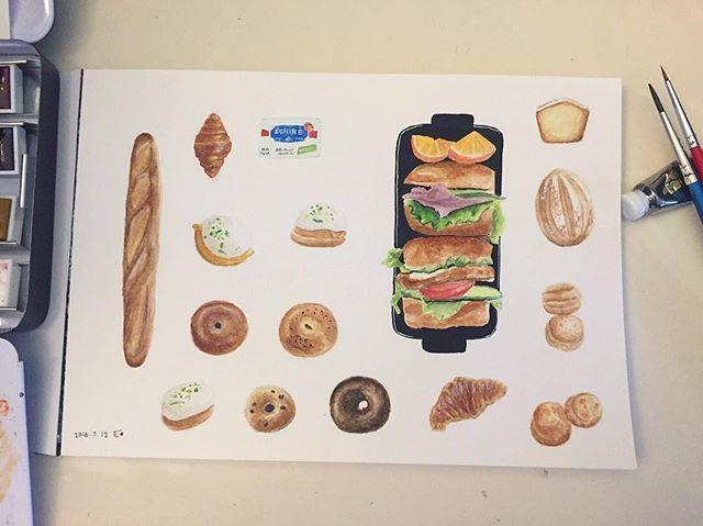 全餐吃到飽  #lumiaccentcolor#tokyuhands#kawachi#文具#文房具#文具房#小異畫畫 #塊狀水彩 #rembrandt #林布蘭#watercolor#水彩畫#畫畫#插畫#bread#breads#sandwich#bagel#bagels#Scone#Croissants