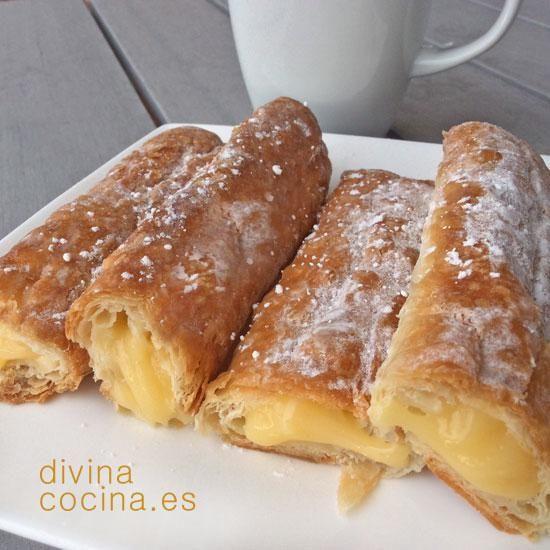 Utiliza esta sencilla receta de cañas de hojaldre y crema pastelera para hacer también cañas de chocolate.