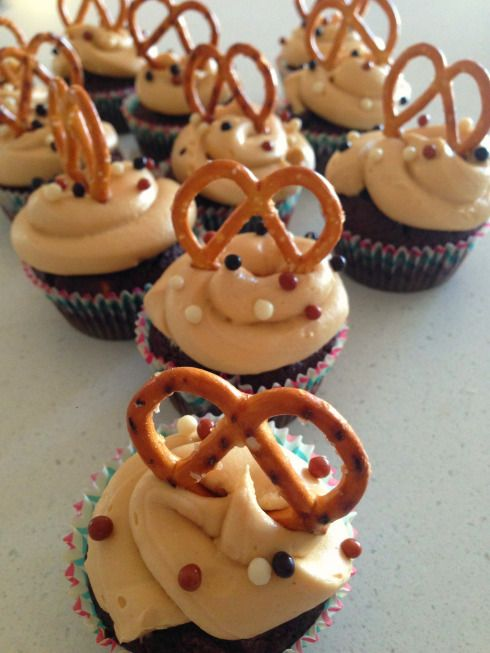 Chocolate whiskey cupcakes with peanut butter frosting