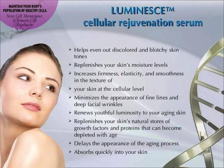 Helps even out discolored and blotchy skin tones ◦Provides a youthful luminosity to the skin ◦Minimizes the appearance of fine lines and wrinkles ◦Refreshes collagen and elastin ◦Helps maintain smooth skin texture ◦Replenishes skin's natural stores of proteins to sustain a youthful, firm appearance ◦All natural, hypoallergenic, and paraben free