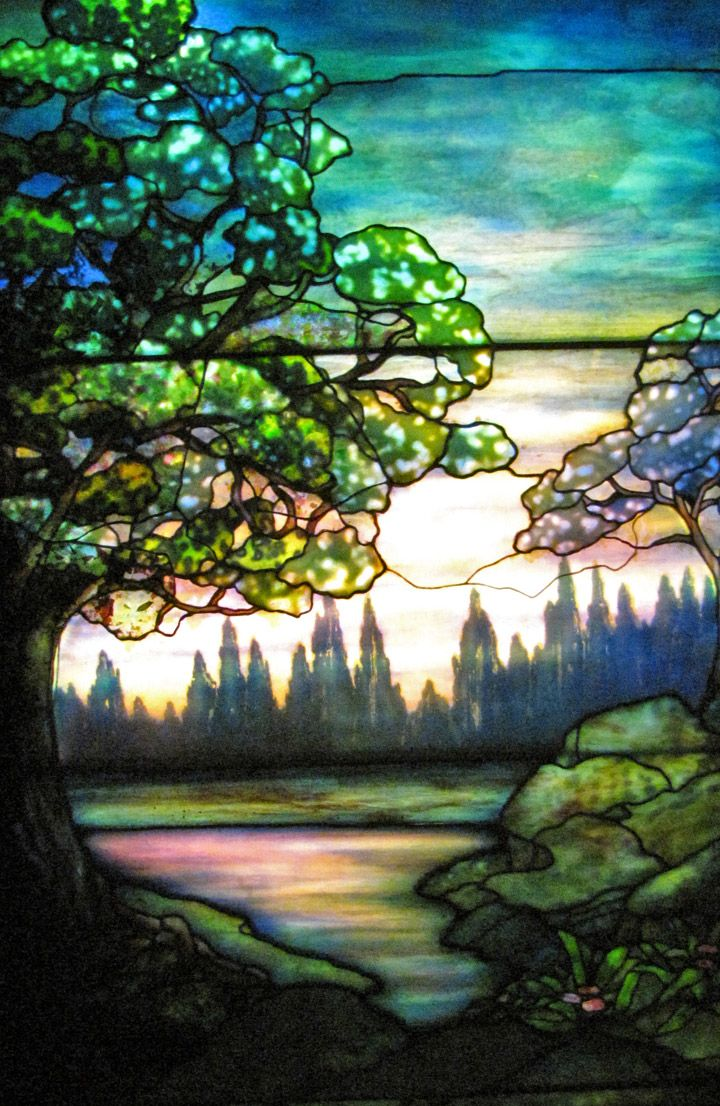 Tiffany landscape @ Smith Stained Glass Museum, Chicago, Illinois - Travel Photos by Galen R Frysinger, Sheboygan, Wisconsin