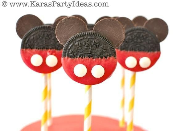 DIY Mickey Mouse Oreo Pops with TUTORIAL! Mickey Mouse Birthday Party via Karas Party Ideas | KarasPartyIdeas.com #mickey #mouse #cake #favor #decorations #supplies #birthday #party #ideas