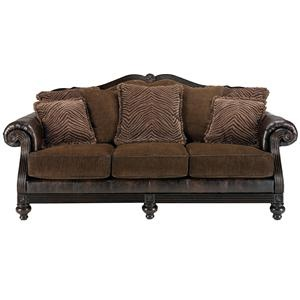 Ashley Millennium Key Town Truffle Two Tone Stationary Sofa With Exposed Wood Bun Feet At