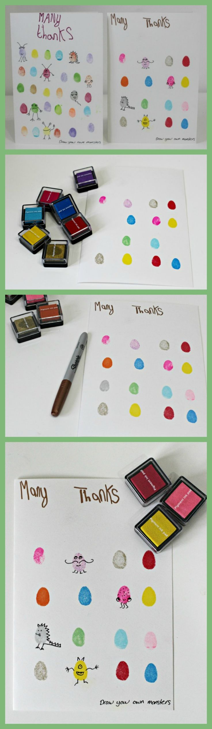 Make your own Monster fingerprint cards.  These are so easy to make and even better to gift by Mum in the Mad House