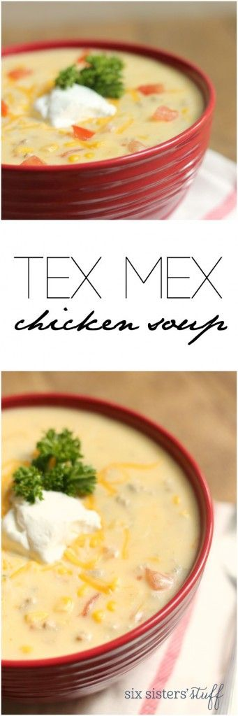 Tex Mex Chicken Soup from @sixsistersstuff | This is a super-easy soup to throw together on chilly nights! We love it served with warm rolls (or in a bread bowl!). It tastes great with ground chicken or ground turkey, but you could easily substitute in shredded chicken or turkey, too!