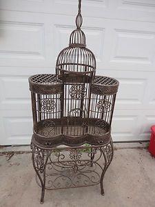 Rare Antique Vintage Iron Victorian Bird Cage & Stand - Google Search