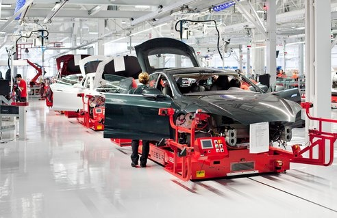 Here's the assembly line at Tesla's electric car factory in California.