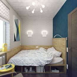 That smart bed (by Студия дизайна Марии Губиной) with built-in storage is a must-have in every small bedroom.
