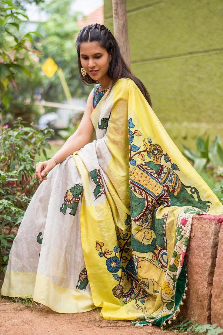 Silver tissue pochampally silk saree with yellow border and handpainted kalamkari motifs and pallu  #saree #blouse #houseofblouse #indian #bollywood #style #silver #tissue yellow #border #pochampally #puresilk #handpainted #kalamkari #elephant #applique