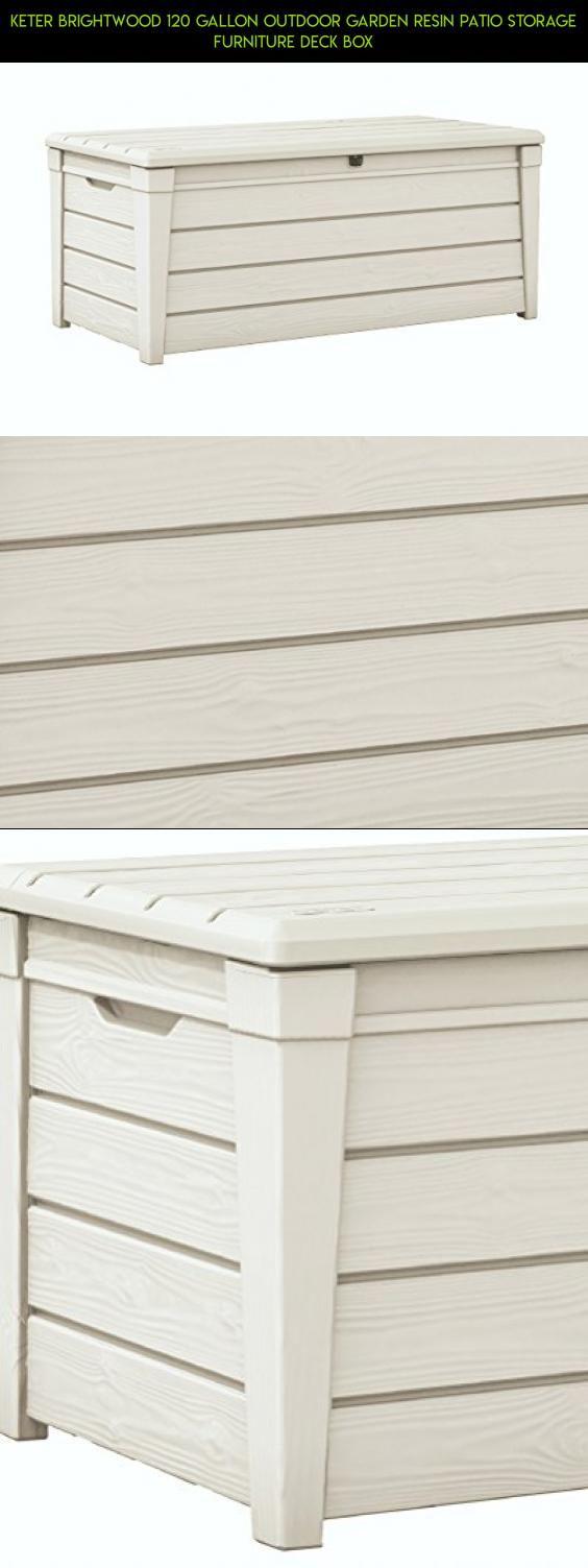 Keter Brightwood 120 Gallon Outdoor Garden Resin Patio Storage Furniture Deck Box Camera Kit