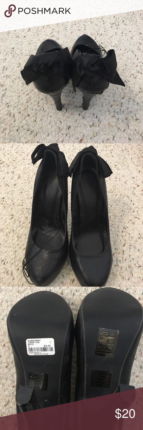 Brand New Black Heels with Bows Brand new from Forever 21. Shoes Heels