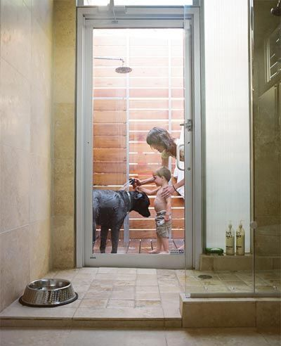 Indoor and outdoor shower, this would be VERY useful one day :)