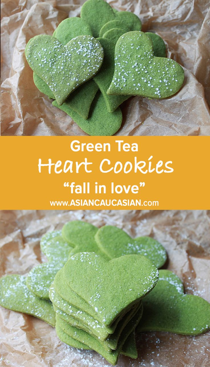 Matcha Green Tea Heart Cookies