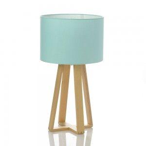 Lampe à poser scandinave bleue avec pied en bois