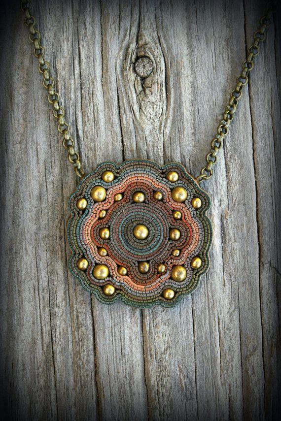 Polymer clay pendant bead jewelry Bohemian boho charm statement multi color…