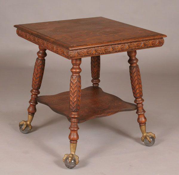 Victorian Carved Oak Lamp Table Claw Ball Feet Grandma