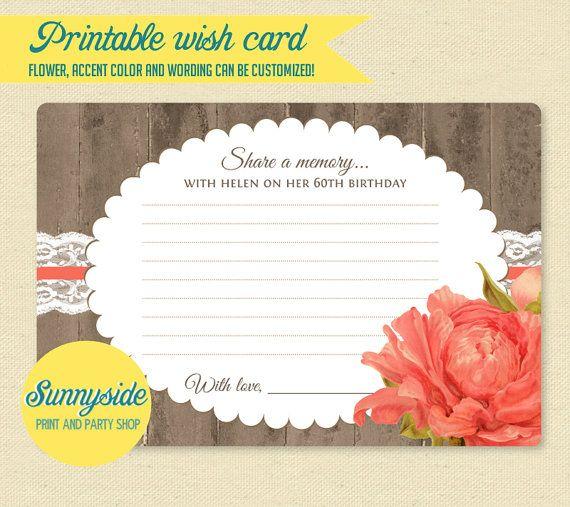 Birthday Memories Card // Birthday Wishes // Milestone 50, 60, 70, 80, 90 // Rustic floral printable wish card