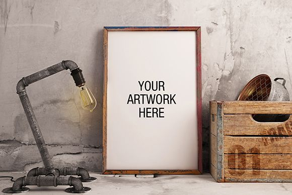 Premium Frame Mockup with Industrial Lamp