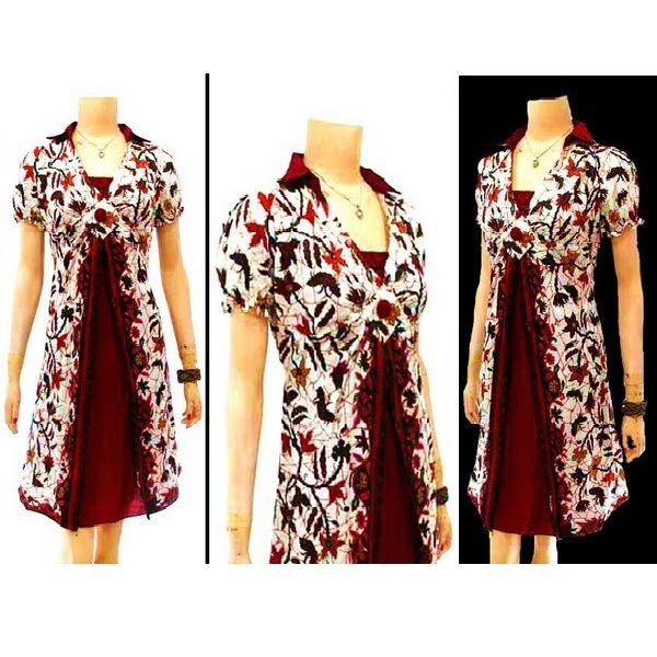 Dress Batik dengan model kerah kemeja, lengan pendek kerut di ujung, bross bunga di dada, kerut belakang. Ukuran Allsize (104 x 48cm). Bahan  : Katun. Motif: Cakar. Warna : Putih Kombinasi Merah Hitam. Harga Rp 85.000