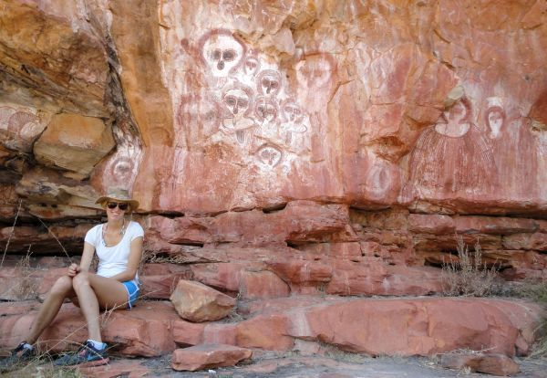 the Wandjina, shown in these paintings, is the supreme Creator and a symbol of fertility and rain for local indigenous groups of the East Kimberley. Their ancestors have been painting Wandjina (also spelled wanjina) and Gyorn Gyorn (also called Gwion Gwion) figures in rock art sites scattered throughout the western Kimberley for millennia. This is the oldest continuous sacred painting movement on the planet.