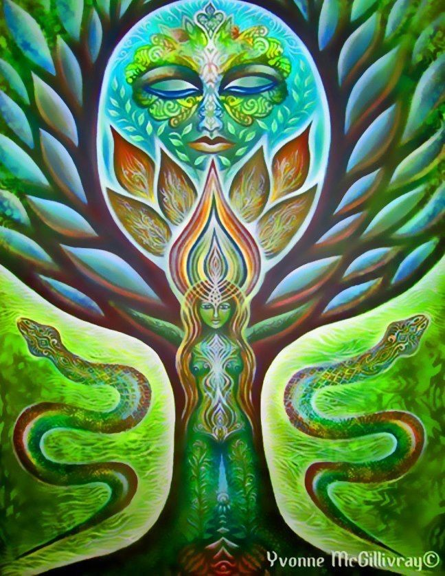 Tree of Life Art :: Green Goddess by Yvonne McGillivray