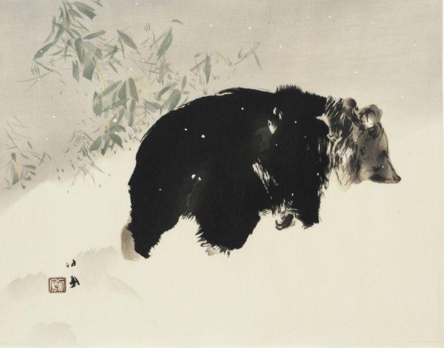 Japanese Art   Bear In Snow  