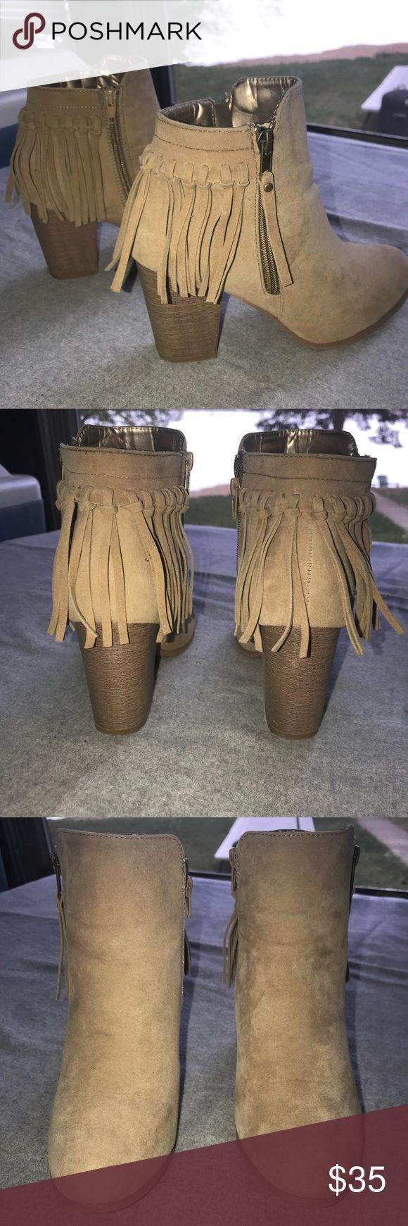 NEW FRINGE TAUPE BOOTIES Booties from tillys. Size 9. Worn once. Tilly's Shoes Ankle Boots & Booties