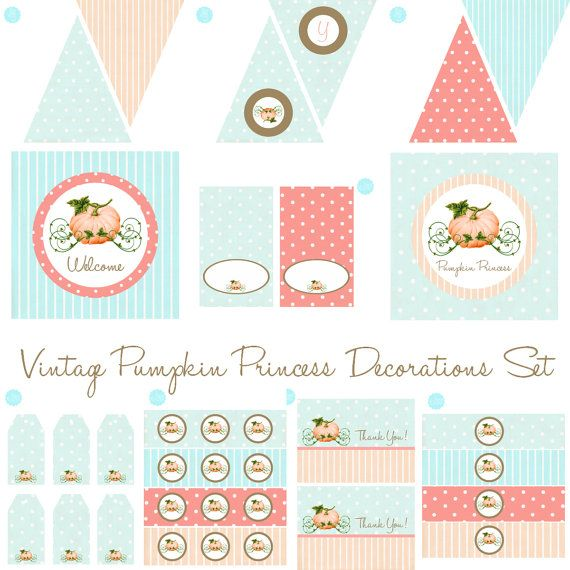 Vintage Pumpkin Princess FULL Decoration Set by Bee and Daisy - INSTANT DOWNLOAD Cinderella Printable Party Shower Cupcake Toppers Bottle Wraps Favor Tags