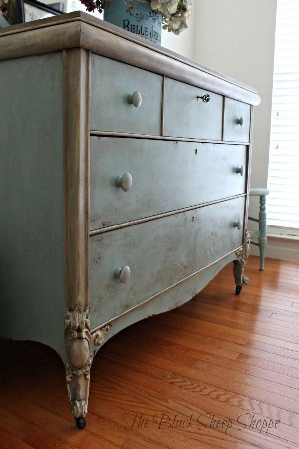 Faded Grandeur Finish On Vintage Dresser Chalk Furniture Blue Painted Furniture Painted Furniture Colors