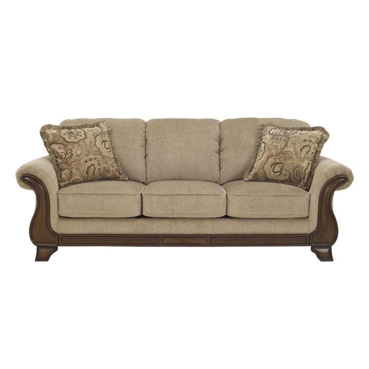 Ashley Lanett Fabric Queen Size Sleeper Sofa in Barley