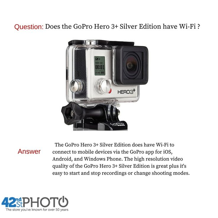 Question: Does the GoPro Hero 3+ Silver Edition come with Wi-Fi? Answer: The GoPro Hero 3+ Silver Edition does have Wi-Fi to connect to mobile devices via the GoPro app for iOS, Android and Windows Phone. The high resolution video quality of the GoPro Hero 3+ Silver Edition is great plus it's easy to start and stop recordings or change shooting modes. GoPro Hero 3+ Silver Edition Giveaway Enter the #giveaway on Instagram now for a chance to win a GoPro Hero 3+ Silver Edition.