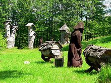 Wooden hives in Lithuania: Ancient Beekeeping, Bees, Wooden Hives, Free Encyclopedia, Bee Hives, Honey