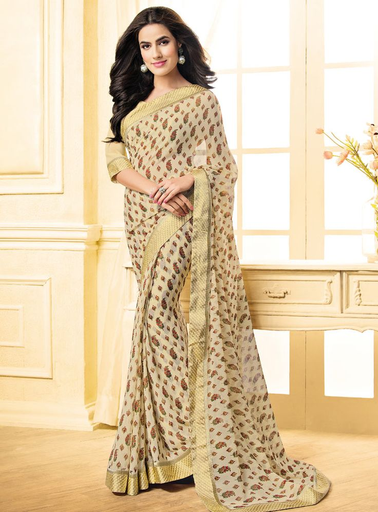 Beige Georgette Printed Saree With Blouse 85330