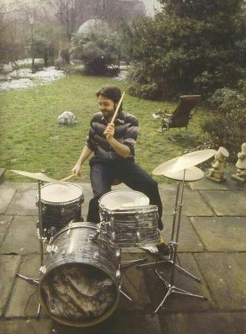 Paul McCartney playing Ringo's Ludwig Drum Kit that he borrowed to use on his first solo album and with Wings.