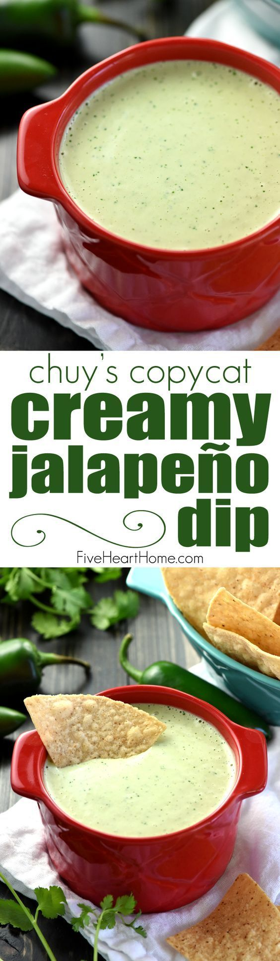 Creamy Jalapeño Dip ~ a base of homemade ranch dressing is flavored with fresh jalapeños, cilantro, and tomatillo salsa in this addictive copycat recipe of the popular appetizer at Chuy's! | http://FiveHeartHome.com