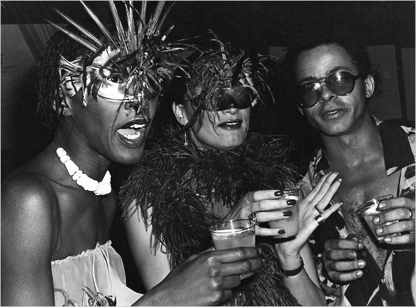 Bethann Hardison, left, with Stephen Burrows at Studio 54, 1977. Looks like a good time...  via FashionIndie