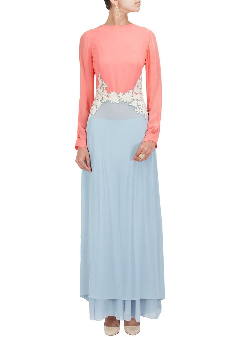 Peach and pale blue resham embroidered tunic