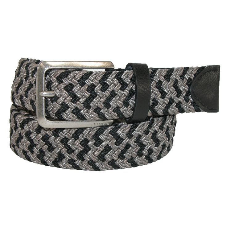Tommy Hilfiger Men's Fabric Woven Two Tone Stretch Belt