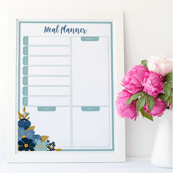 Reusable Meal Planner in Flowers Design. Dry erase - works like a whiteboard -  by www.atpcreativedesign.com