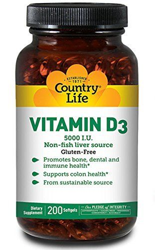 Vitamin D3 5,000 I.U. Non-fish liver source. New clinical evidence suggests vitamin D3 is important for overall health, including healthy bone structure and immune support.** Directions: Adults take one (1) softgel daily with food. Other Ingredients: Medium chain triglycerides, [gelatin,... more details at http://supplements.occupationalhealthandsafetyprofessionals.com/vitamins/vitamin-d3/product-review-for-country-life-vitamin-d3-5000-i-u-200-softgel/